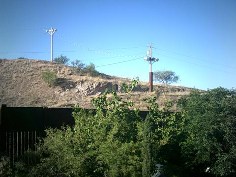 border wall and light poles