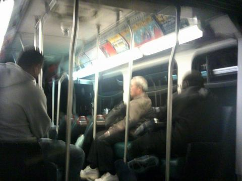 blurry photo of bus interior
