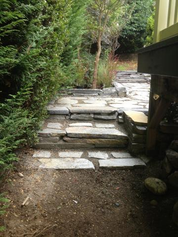 photo of completed stairs made of paving stones