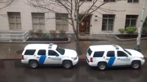 two Seattle police SUVs