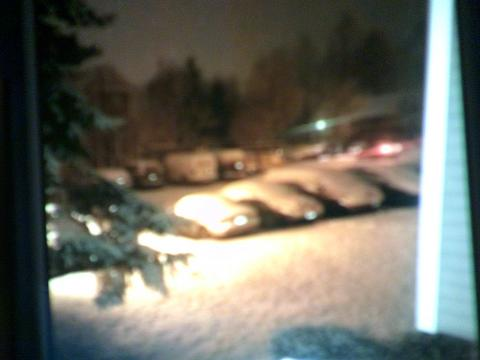 snow covered cars in parking lot at night