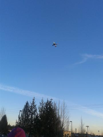 Airplane flying above