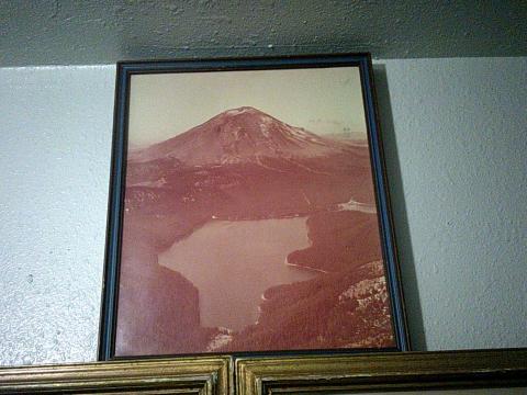 framed photo of volcano
