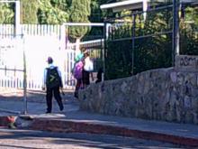 kids walking toward school