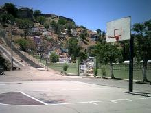 Photo of a cemetery and basketball court