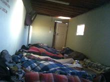 Photo of shared sleeping space in the morning, before everyone has awoken.