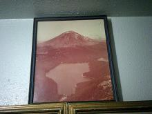 framed photo of volcano