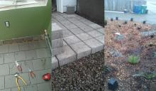 tools and rain garden